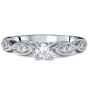 1 / 2CT Vintage Runde Diamant Verlobungsring 14K White Gold