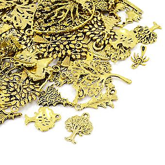 Packet 30 Grams Antique Gold Tibetan 5-40mm Tree Charm/Pendant Mix HA07085
