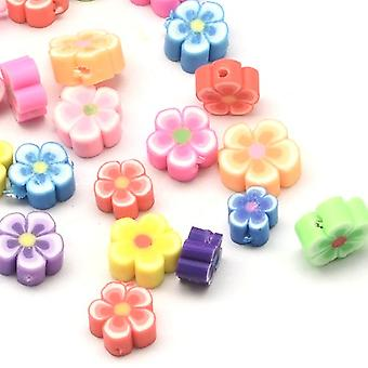 Packet 30 x Mixed Polymer Clay 4 x 8mm Flower Beads HA24245