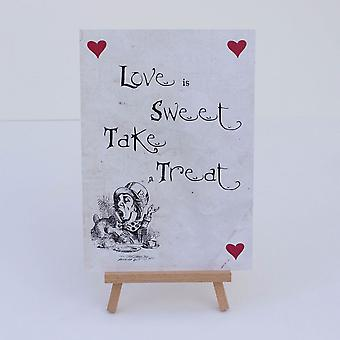 Alice in Wonderland Candy Sweet Bar Distressed White 'Love Is Sweet' Sign And Easel