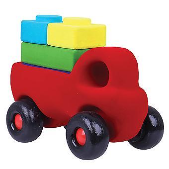 Rubbabu Soft Plush Rubbablox Truck Set (Red) Sensory Squishy Baby Toddler Toy