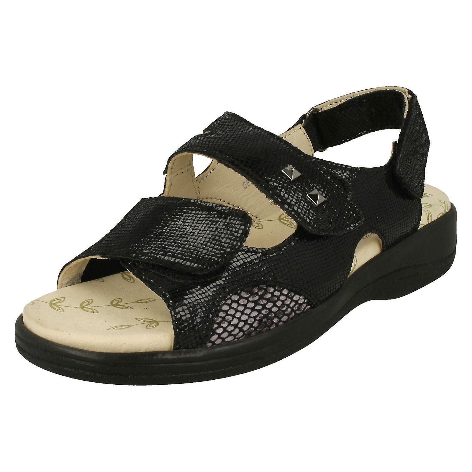 Ladies Padders Hook & Loop Fastening Sandals Gemstone - Black Reptile Leather - UK Size 6 3E/4E - EU Size 40 - US Size 8