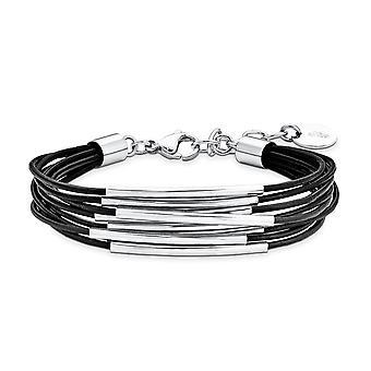 s.Oliver bijou Mesdames bracelet en acier inoxydable en cuir SO1251/1 9078356