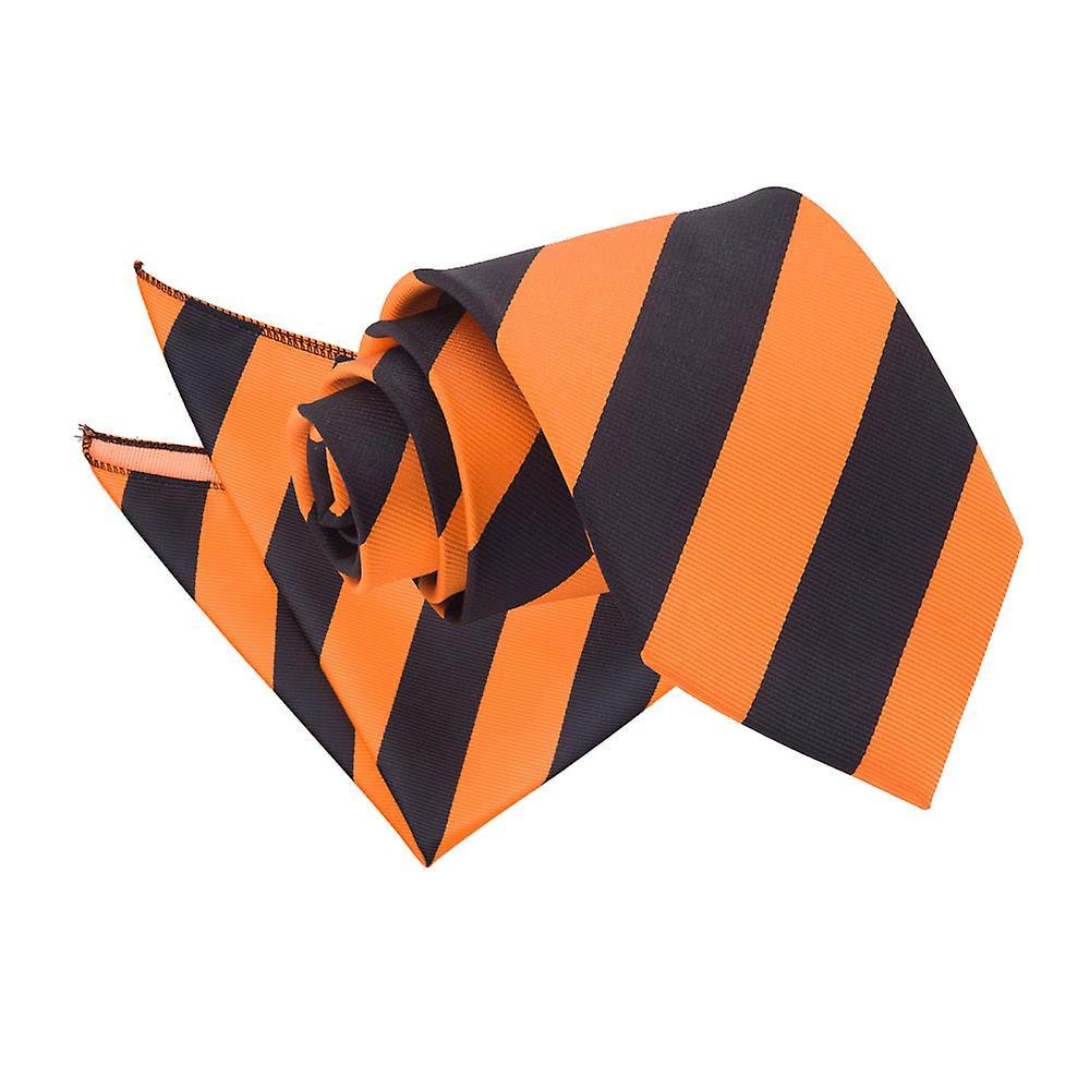 Orange & Black Striped Tie & Pocket Square Set