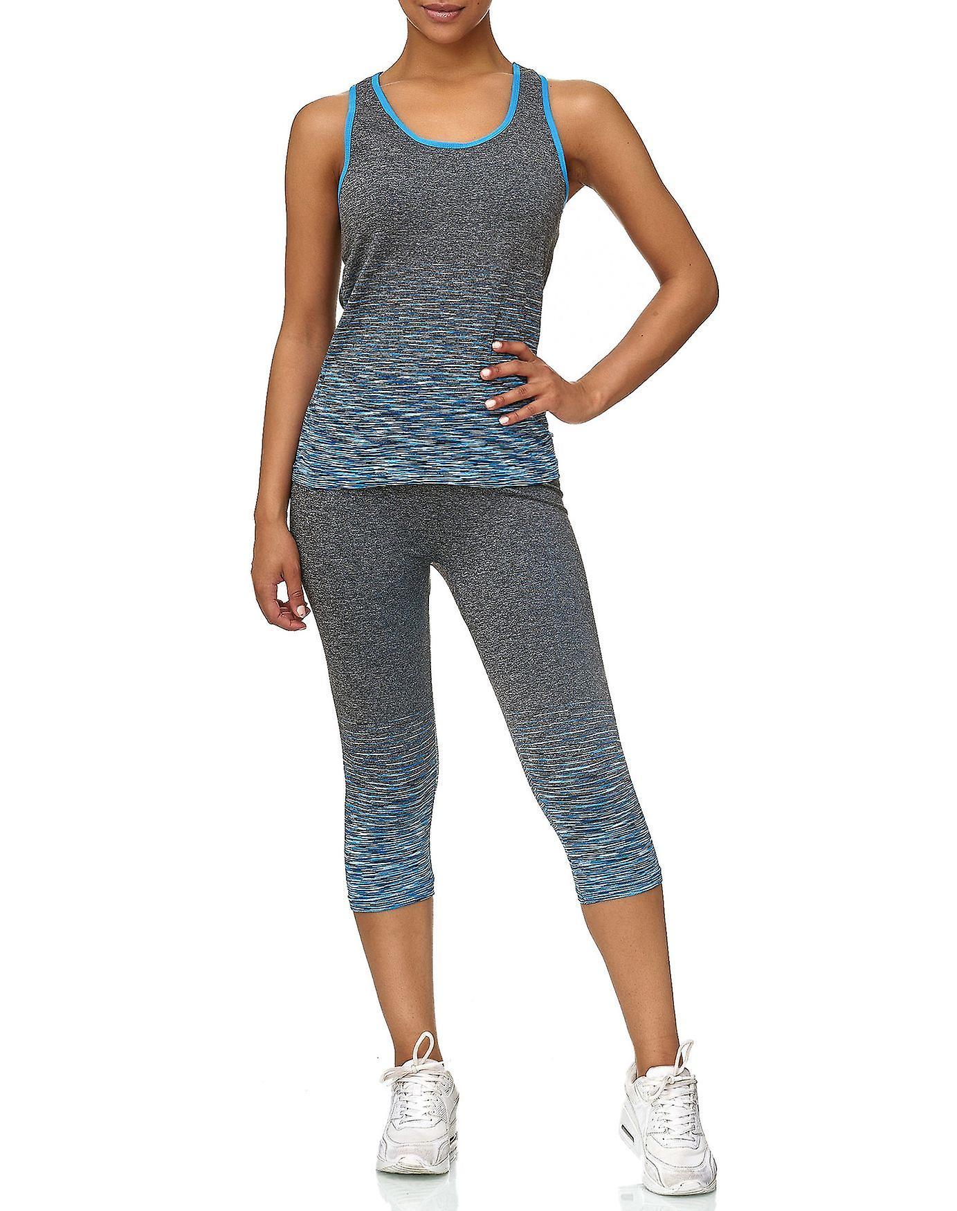 68049a4912986 Ladies Sport Set GYM Fitness Shirt Leggings Training Pants Two Piece  Workout Top