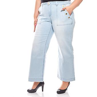 sheego ladies blow pants plus size short size light blue