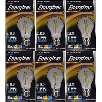 6 X Energizer 6.2W = 60W LED Filament GLS Light Bulb Lamp Vintage BC B22 Bayonet Cap [Energy Class A+]