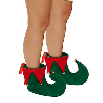 Adult Festive Christmas Elf Deluxe Red & Green Boots With Bells - One Size