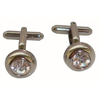 Bassin and Brown Round Crystal Cufflinks - Silver