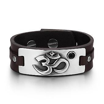 OM Ancient Tibetan Amulet Magic Powers Tag Simulated Black Onyx Dark Brown Leather Bracelet