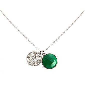Gemshine - ladies - - pendant - tree of life necklace - 925 Silver - emerald - green - 45 cm