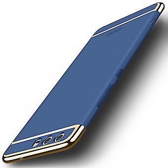 Handy Hülle Schutz Case für Huawei P10 Bumper 3 in 1 Cover Chrom Etui Blau