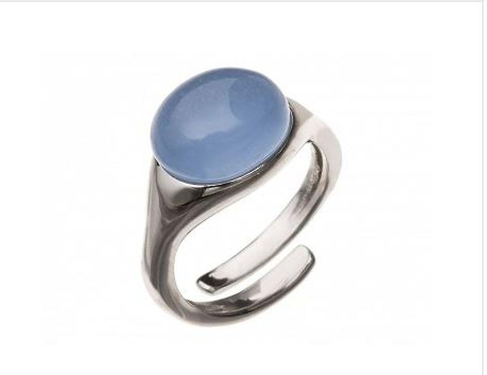 femmes - Ring - 925 argent - Chalcedon - bleu - Taillenverstellbar - 10 mm