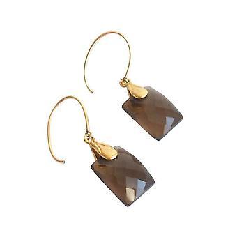 Smoky quartz gold plated oorbellen JANE gem steen sieraden