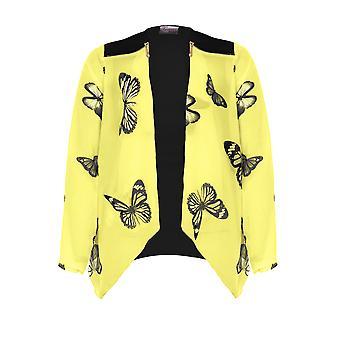 Las señoras mariposa manga de Gasa impresión cascada detalle Zip Kimono abierto delantero superior