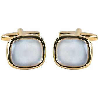 David Van Hagen Gold Plated Mother of Pearl Square Cufflinks - White/Gold