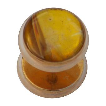 Fake Cheater Ear Plug Gold Plated, Earring, Body Jewellery, Yellow Jade Stone