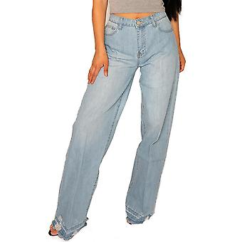 Wide Leg Jeans Frayed Ends