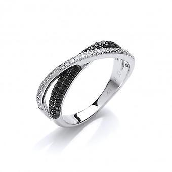 Cavendish francés plata y Cubic Zirconia anillo de banda de Crossover