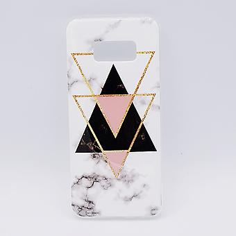 Samsung S8 Plus pouch-black marble triangles & pink