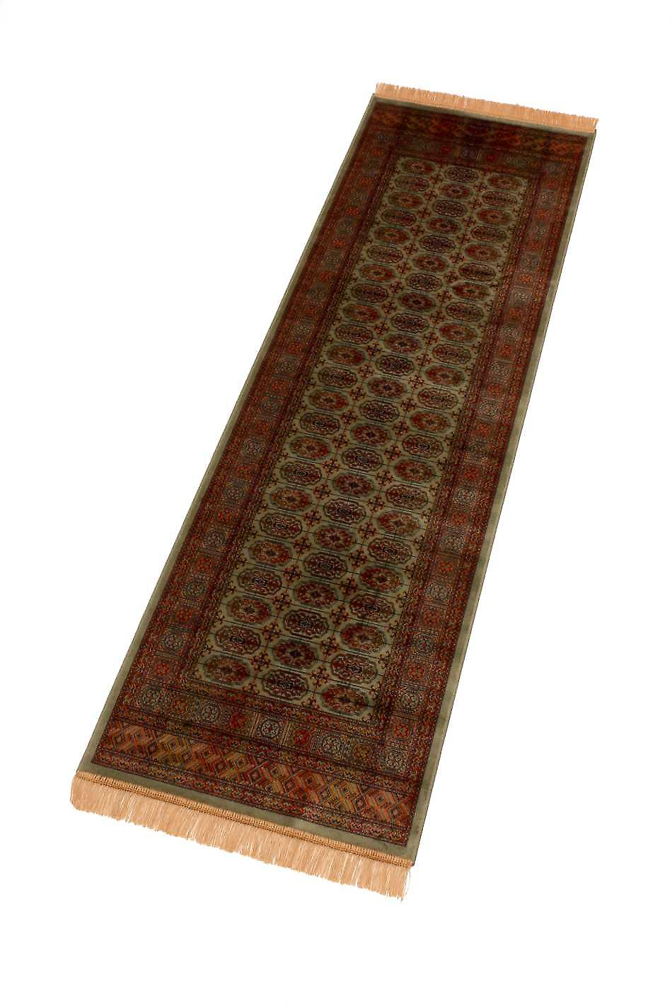 Green Persian Bokhara Artificial Faux Silk Effect Hall Runner Rugs 8438/16