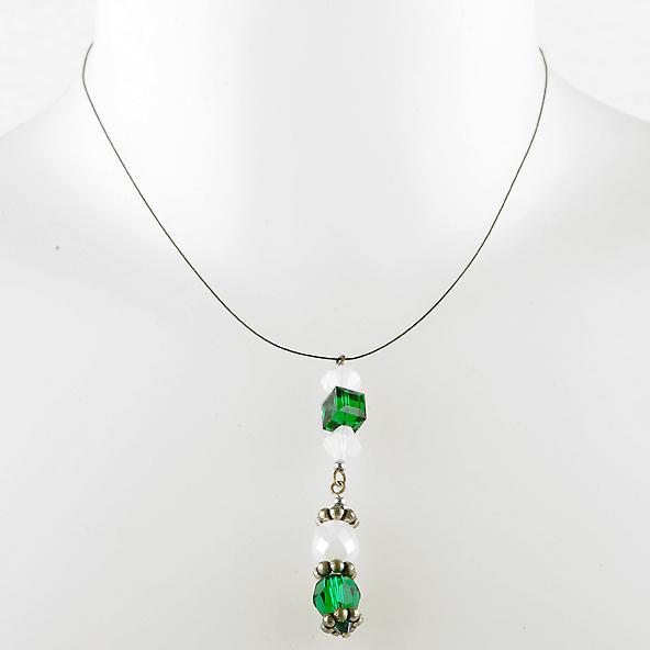 Waooh - smycken - WJ0265 - halsband med strass Swarovski Emerald & vit - silver hänge