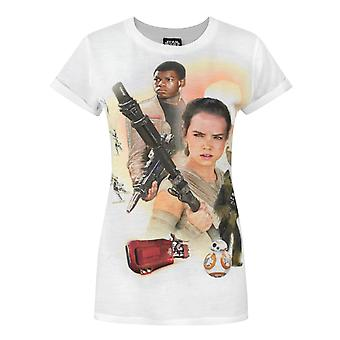 Star Wars Force Awakens Heroes Sublimation Women's T-Shirt White