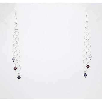 925 Silver Drop Earrings With Lilac & Purple Crystals
