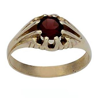 9ct Gold Garnet set solitaire Dress Ring Size Z