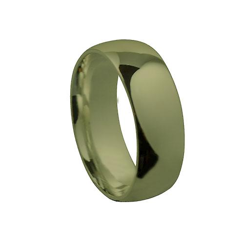 9ct Gold 8mm plain Court shaped Wedding Ring Size Y