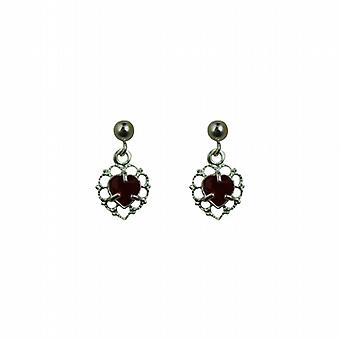 Silver 11x7mm filigree heart Dropper Earrings set with Garnet