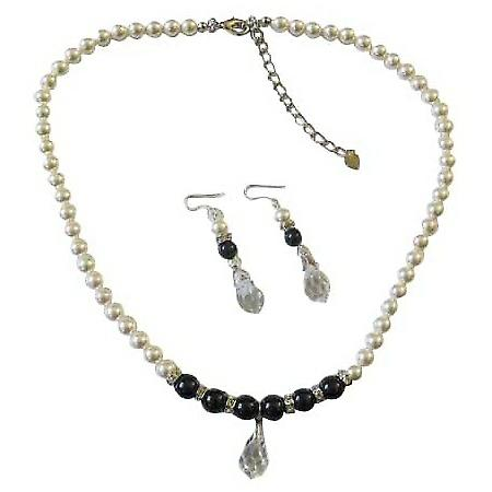 Swarovski White Black Pearls w/ Silver Rondells Clear Crystals Teardop