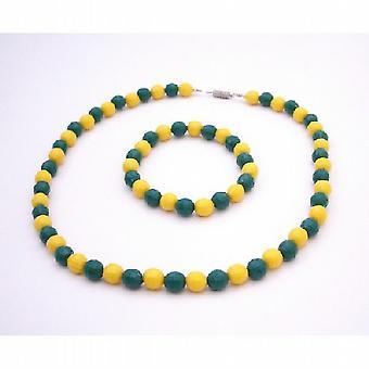 Brazil Jewelry Yellow & Green Pride Jewelry Necklace & Bracelet