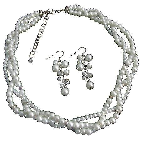Impressive Bridal Jewelry In Rich White Pearl Rhinestones Sparkle Twisted Necklace Cute Earrings Set