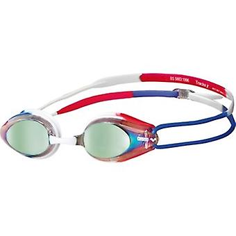 Arena Tracks Mirror Swim Goggle - Mirrored Lens - Gold/Blue/Red