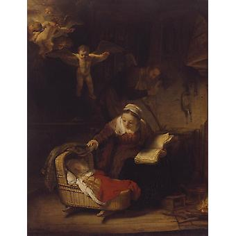 The Holy Family with Angels,Rembrandt,50x38cm