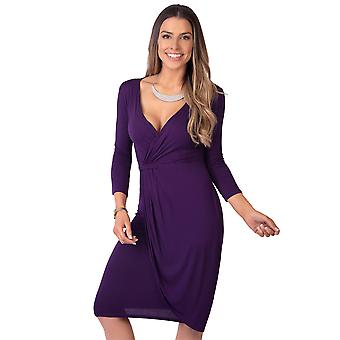KRISP  Women Shift Wrap Dress Knee Long Quarter 3/4 Sleeve Midi Sexy Solid Casual