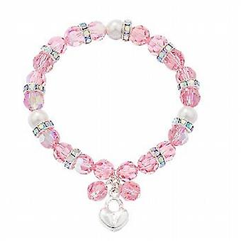 Kleshna 'Sophisticated Lady' Rose Rhinestone Bead Elasticated Bracelet