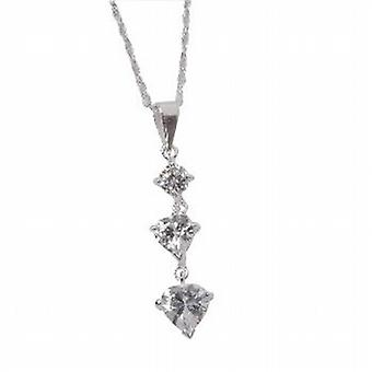 Toc Sterling Silver Triology Heart Pendant on 16 Inch Chain