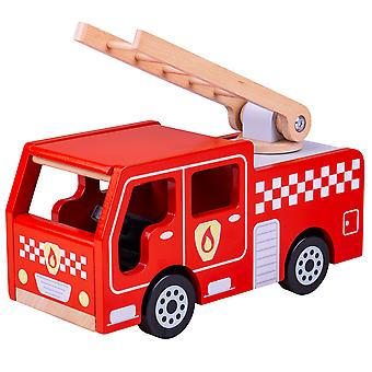 Bigjigs Toys Wooden City Fire Engine Playset