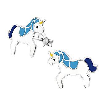 Sterling Silver Unicorn brincos studded