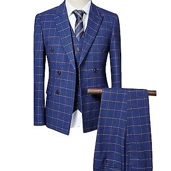 Allthemen Men es Suit Plaid Business Casual Double-Breasted 3-Pieces Suit Blazer Pants Vest