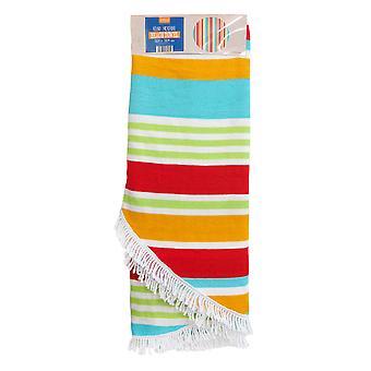 Country Club rond streep strand handdoek, oranje en groen