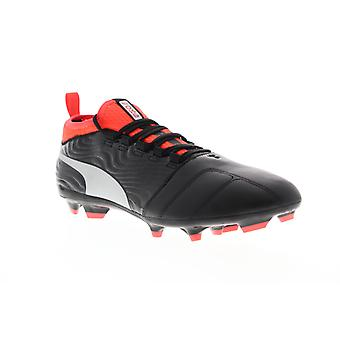 Puma One 18.3 FG 10453801 Mens Black Leather Athletic Soccer Cleats Shoes