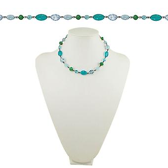 Eternal Collection Martinique Blue Aqua And Green Crystal 18 Inch Gunmetal Beaded Necklace