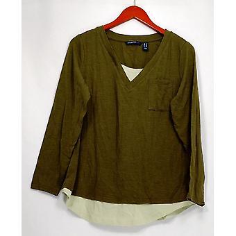 Isaac Mizrahi Live! Women's Top TRUE DENIM Long Sleeve V-neck Green A296761