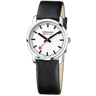 Mondaine Simply Elegant Black Leather Strap Mens Ladies Watch A400.30351.11SBB 36mm