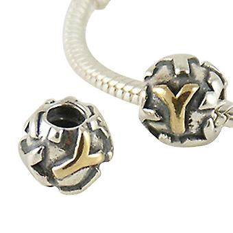Argent sterling charme & lettre plaqué or Y SG3015-Y