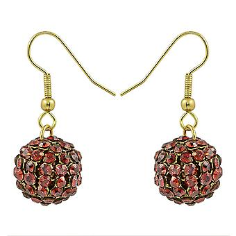 Red Magma Crystal Mesh Ball Earrings EMB115.11