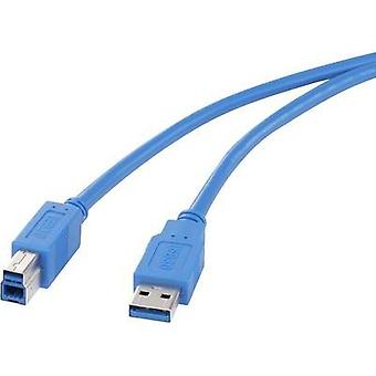 USB 3.0 Cable [1x USB 3.0 connector A - 1x USB 3.0 connector B] 1 m Blue gold plated connectors Renkforce